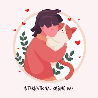 Flat international kissing day illustration with woman and cat