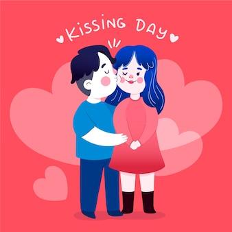 Плоский международный день поцелуев Premium векторы
