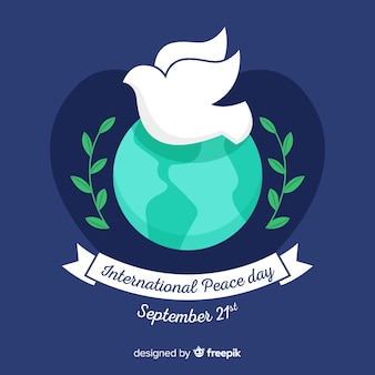 Flat international peace day with dove