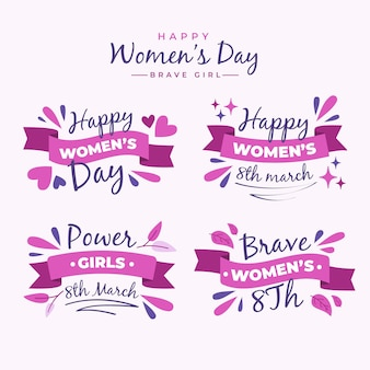 Flat international women's day badge collection