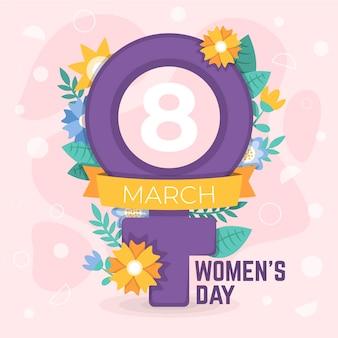 Плоский международный женский день с иллюстрацией
