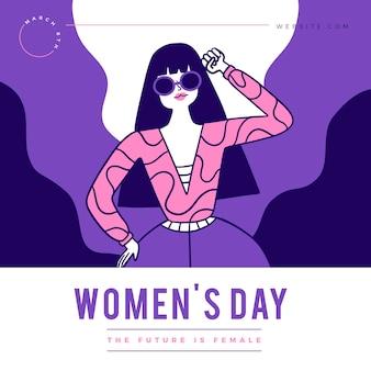 フラットな国際女性の日のイラスト