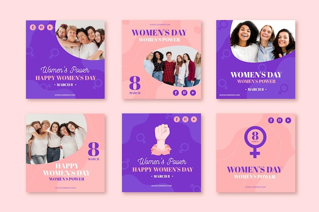 Flat international women's day instagram posts collection