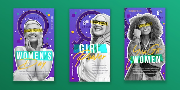 Flat international women's day instagram stories collection
