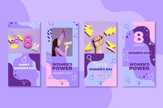 Flat international women's day instagram stories collection