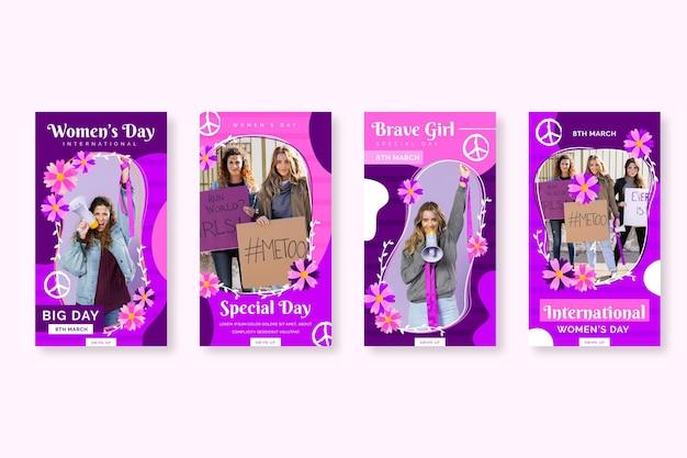 Raccolta di storie di instagram per la giornata internazionale della donna piatta
