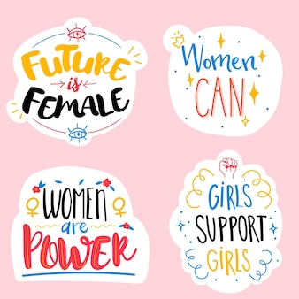 Flat international women's day labels