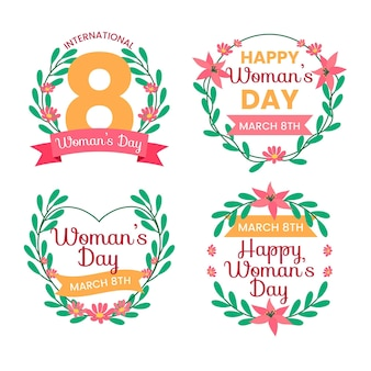 Etichette piatte della giornata internazionale della donna