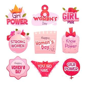 Плоские этикетки международного женского дня