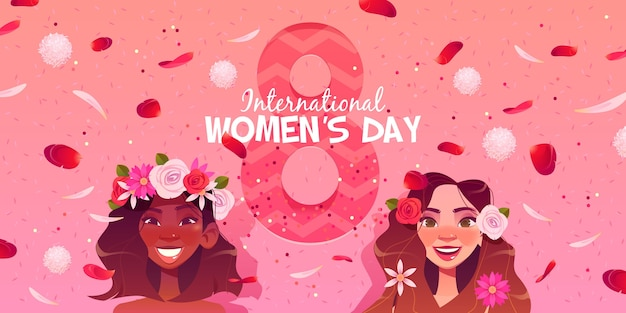 Flat international women's day Free Vector