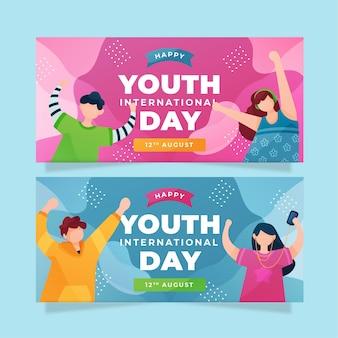 Набор плоских баннеров международного дня молодежи