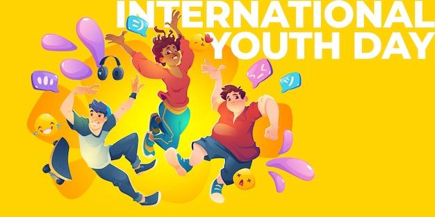 Плоский международный день молодежи горизонтальный баннер шаблон