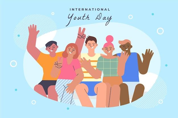 Flat international youth day illustration