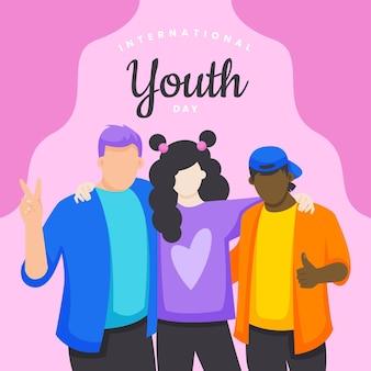 フラットな国際青少年デーのイラスト