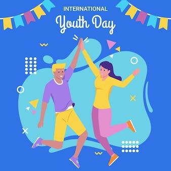 Illustrazione piatta della giornata internazionale della gioventù