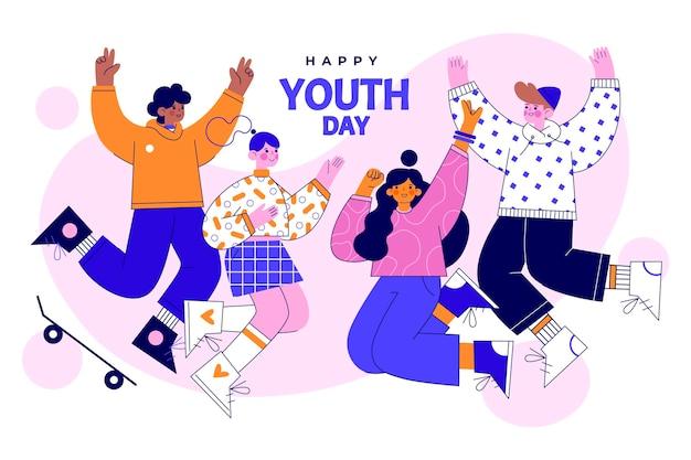평면 국제 청소년의 날 그림 프리미엄 벡터
