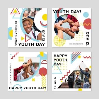 Raccolta di post di instagram per la giornata internazionale della gioventù piatta con foto