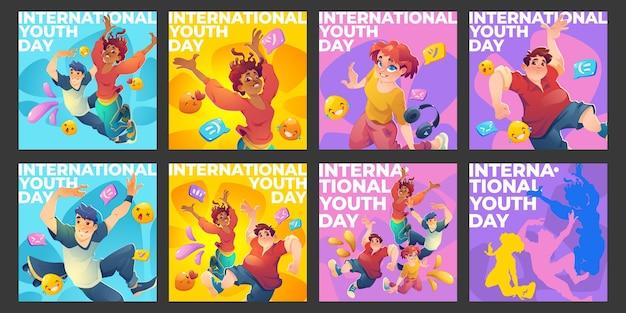 Коллекция сообщений instagram в плоский международный день молодежи Бесплатные векторы