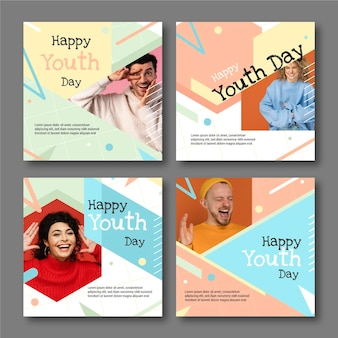 Flat international youth day post collection with photo