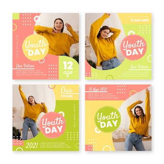 Flat international youth day posts collection with photo
