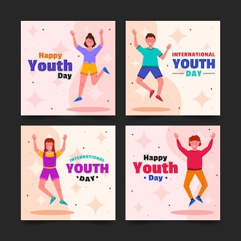 Raccolta di post per la giornata internazionale della gioventù piatta