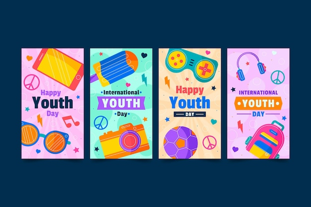 Flat international youth day stories collection
