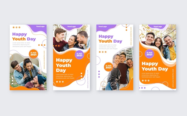 Flat international youth day story collection with photo