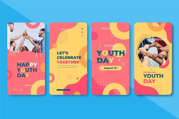 Плоская коллекция историй международного дня молодежи с фото