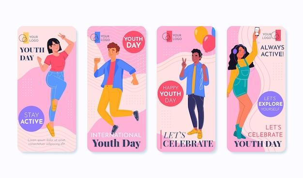 Raccolta di storie piatte per la giornata internazionale della gioventù
