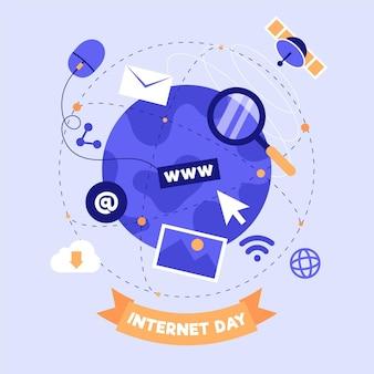 Плоский интернет-день иллюстрация