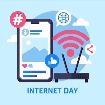 Flat internet day illustration