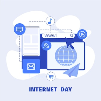 Flat internet day illustration