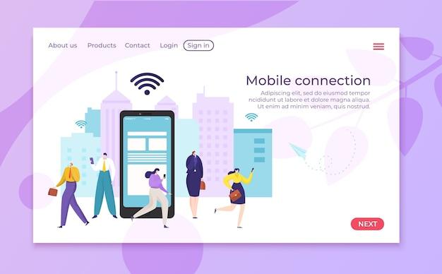 Плоская интернет-сеть для иллюстрации людей