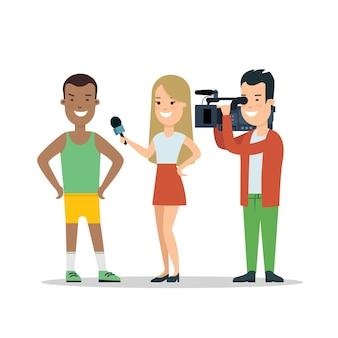 Flat interview of male sports man winner athlete vector illustration