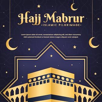 Плоская исламская иллюстрация паломничества хаджа
