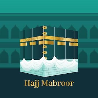 Flat islamic hajj pilgrimage illustration