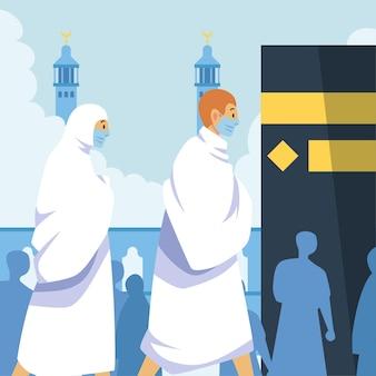 フラットイスラムメッカ巡礼のイラスト