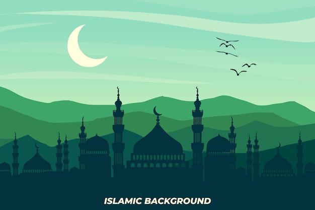 평면 이슬람 풍경 모스크 산 녹색 하늘 아름 다운