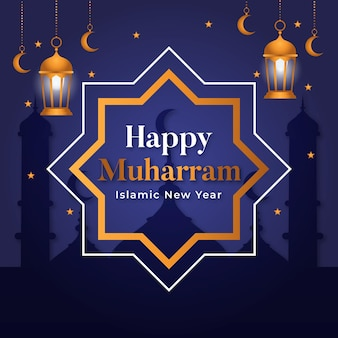 Flat islamic new year concept