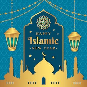 フラット イスラム新年イラスト