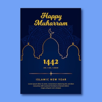 Flat islamic new year poster