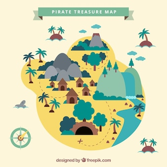 Flat island with pirate treasure