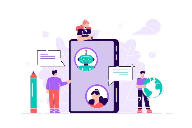 평면 고립 된 그림. 랩톱 컴퓨터에서 온라인 챗봇과 대화 중입니다. 채팅 봇과의 커뮤니케이션. 고객 서비스 및 지원. 인공 지능 개념. 로봇, 봇, 사람들.