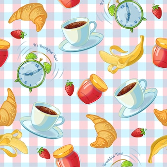 Flat isolated pattern with coffee cup croissants alarm clock and jam on a tablecloth