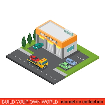 Flat isometric auto car repair service building block infographic concept small business three services boxes and rescue tow truck street road parking build your own infographics world collection
