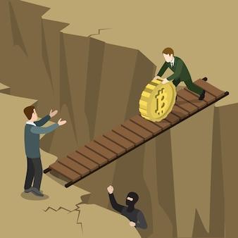 Плоская изометрическая концепция процесса оплаты безопасности криптовалюты биткойн