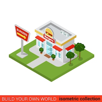 Flat isometric burger restaurant building block infographic concept street corner fast food burgers fries cola dinner build your own infographics world collection