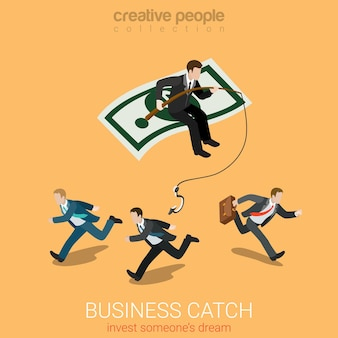 Flat isometric business catch invest dream