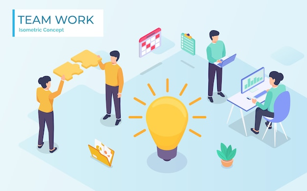 Flat isometric  business illustration. small people characters develop creative business idea. isometric big light bulb as metaphor idea