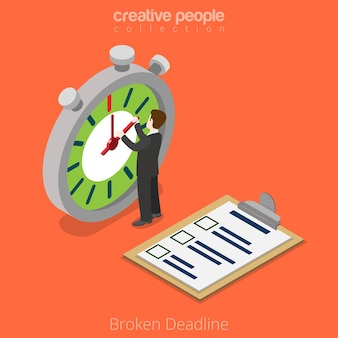 Flat isometric businessman move clock hands, project clipboard checklist  broken deadline business isometry concept.